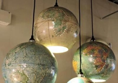 Upcycling globe suspension